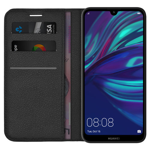 Leather Wallet Case & Card Holder Pouch for Huawei Y7 Pro (2019) - Black